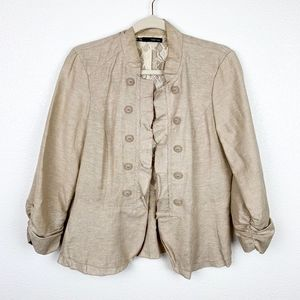 Maurice Cream Lace Military Style Blazer | Large